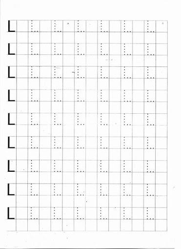 Caligrafia - Letras pontilhadas: Letra Lpara imprimir