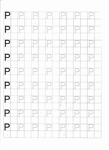 Caligrafia -Letras pontilhadas: Letra P para imprimir