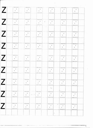 Caligrafia -Letras pontilhadas: Letra Z para imprimir