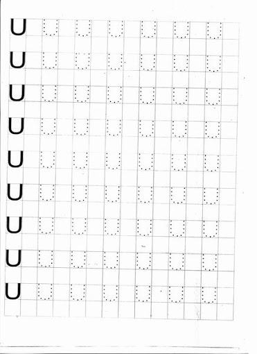 Caligrafia Letras Pontilhadas Letra U Para Imprimir